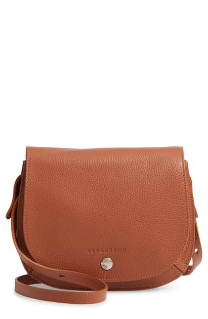 Longchamp Small Le Foulonne Leather Crossbody Bag In Cognac