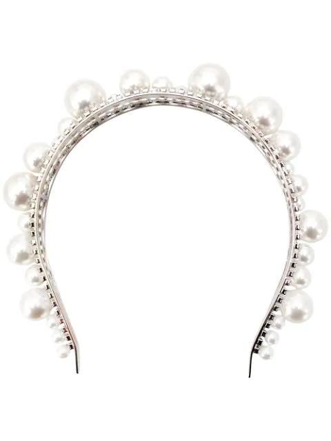 Givenchy Givency Ariana Imitation Pearl & Crystal Headband In 040 Silver