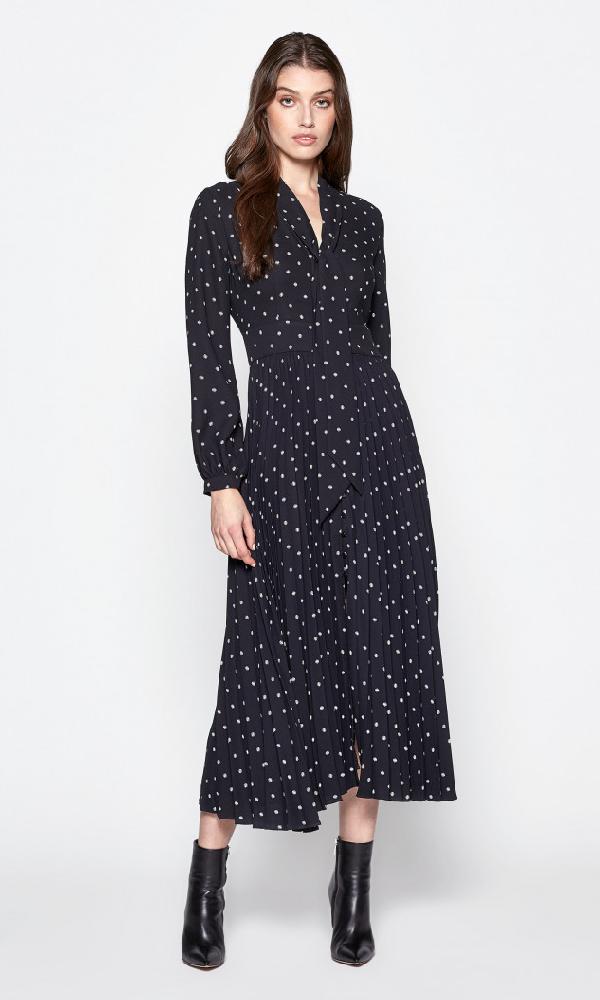 Equipment Amirin Print Tie Neck Long Sleeve Dress In True Black/nature White