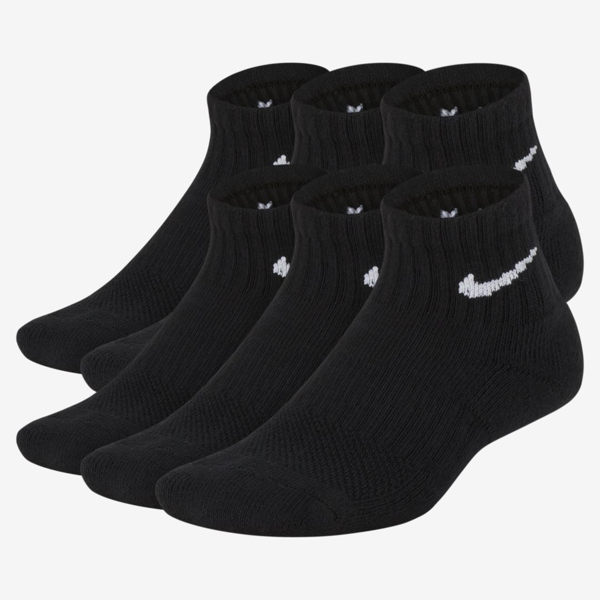 Nike Everyday Kids' Cushioned Ankle Socks (6 Pairs) (black) In Black/ White