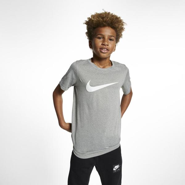 Nike Dri-fit Big Kids' Swoosh Training T-shirt In Gray