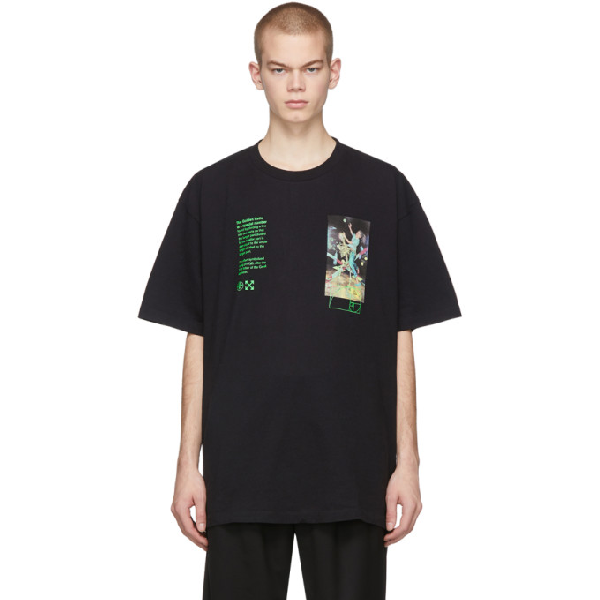 Off-white Print Pascal Paint Slim Jersey T-shirt In Black Multi
