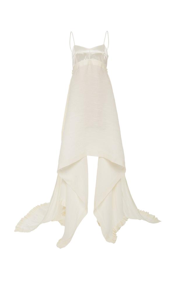 Danielle Frankel Jaq Silk Georgette Gown In White