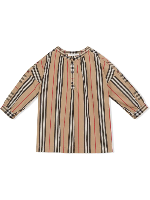 Burberry Girls' Lola Stripe & Check Top - Big Kid In Neutrals