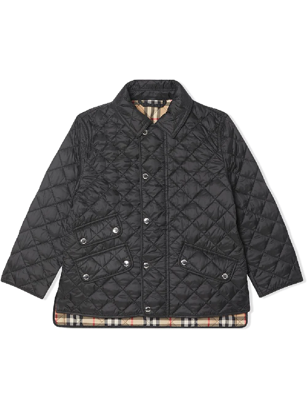 Burberry Unisex Brennan Diamond Quilted Jacket - Little Kid, Big Kid In Black