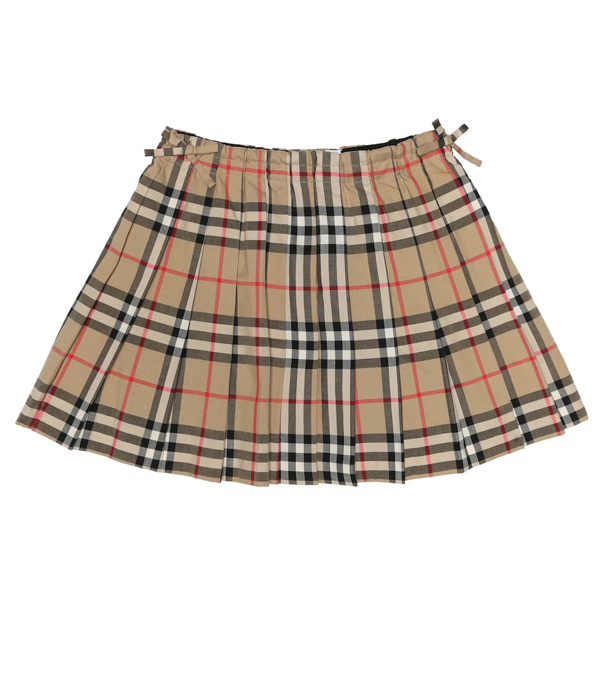 Burberry Kids' Pleated Skirt With Vintage Check Pattern In Archive Beige Ip Chk