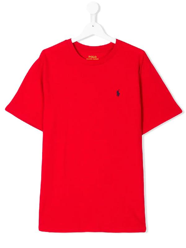 Ralph Lauren Kids' Embroidered Logo T-shirt In Red