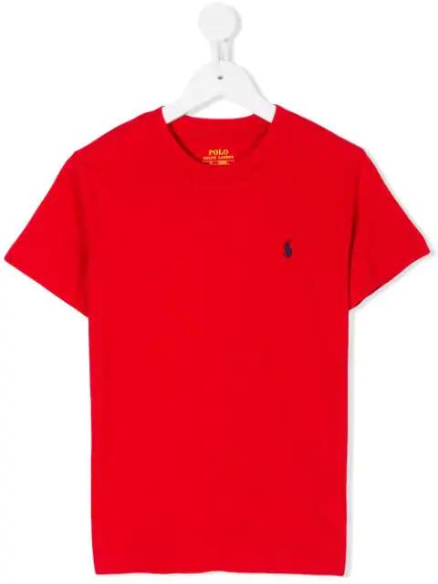 Ralph Lauren Kids' Logo Embroidered Round Neck T-shirt In Red