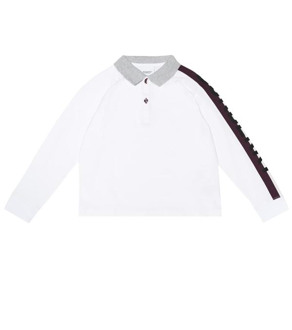 Burberry Boys' Duncan Long-sleeve Polo Shirt - Little Kid, Big Kid In White