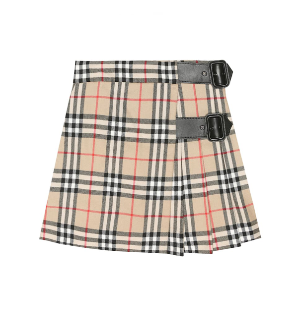 Burberry Kids' Check Print Virgin Wool Midi Skirt In Archive Beige Check