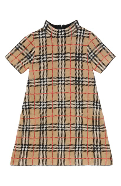 Burberry Girls' Denise Vintage Check Wool Dress - Little Kid, Big Kid In Archive Beige