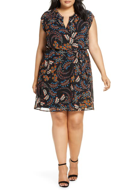 Daniel Rainn Plus Floral Print Cap-sleeve Dress In Black