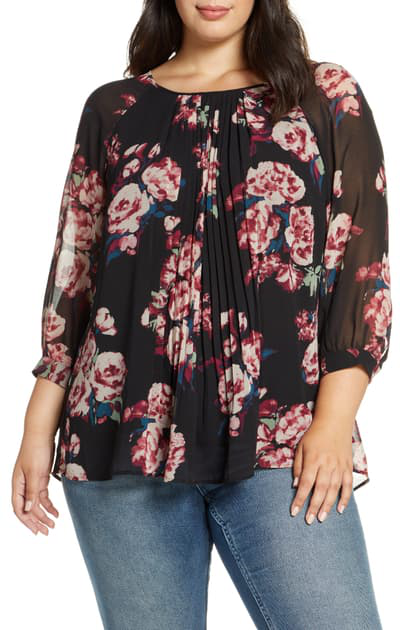 Daniel Rainn Plus Pleated Floral Print Top In Black