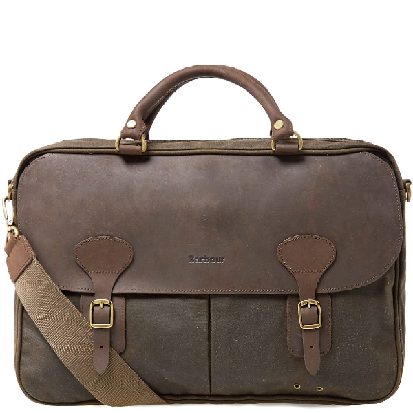 Barbour Waxed Cotton & Leather Briefcase In Navy
