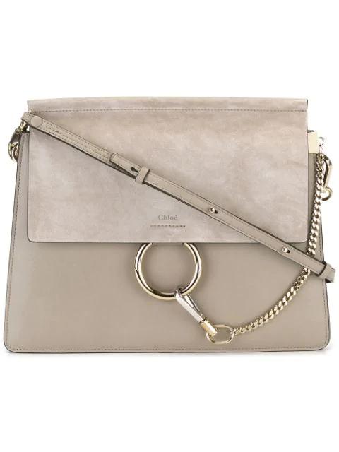 ChloÉ Faye Suede Leather Shoulder Bag In Grey