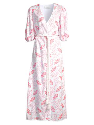 Azulu Women's Cherry Tree Print Puff-sleeve Tie-waist Maxi Dress In Pink Corals