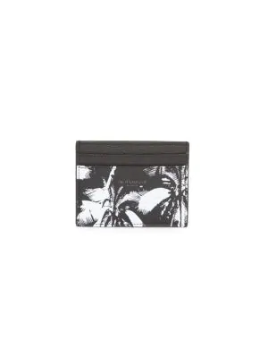 Saint Laurent Men's Palm Leather Credit Card Case In Black White