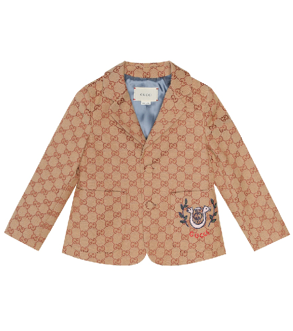 Gucci Kids' Children's Gg Canvas Jacket With Lyre In Neutrals