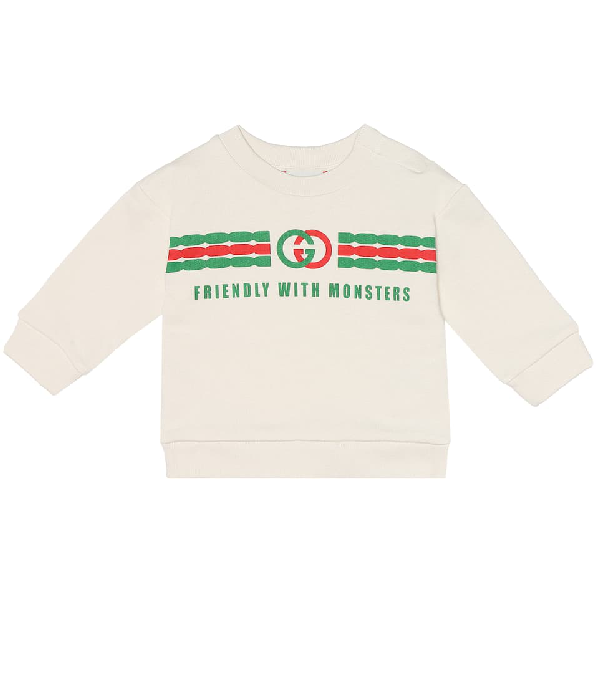 Gucci Baby Interlocking G Print Cotton Sweatshirt In White