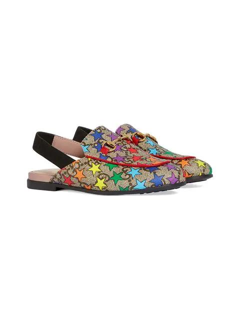 Gucci Kids' Children's Princetown Gg Rainbow Star Slipper In Neutrals