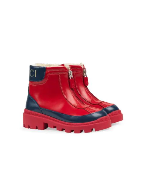 Gucci Kids' Children's Leather Boot With Faux Fur Lining In Red