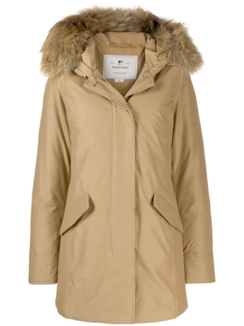 Woolrich Keystone Hooded Down Parka With Genuine Fox Fur Trim In Neutrals