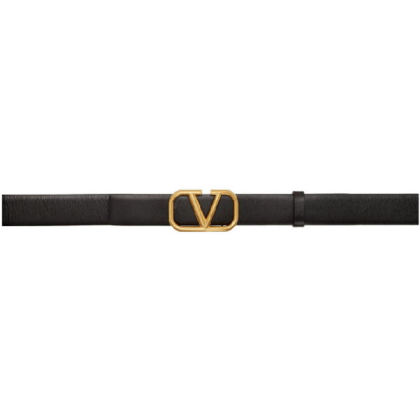 Valentino Garavani Garavani Vlogo Black Leather Belt In 0no Nero
