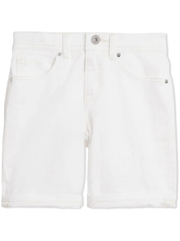 Burberry Kids' White Cotton Stretch Denim Shorts In Bianco