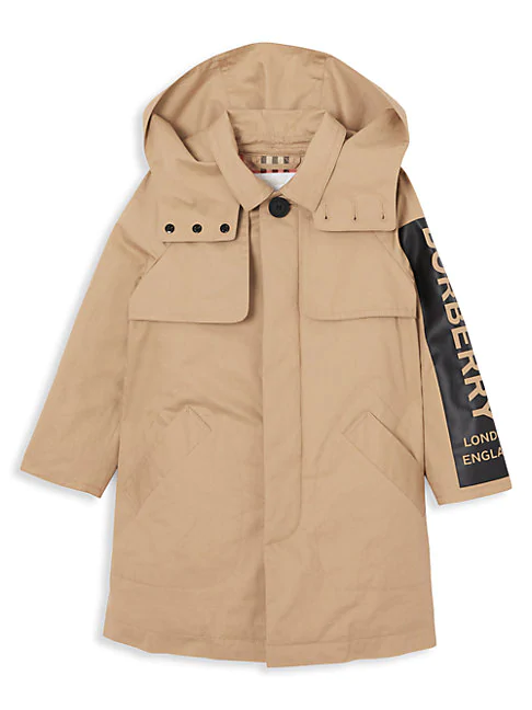 Burberry Kid's Daxton Hooded Trench Coat In Honey
