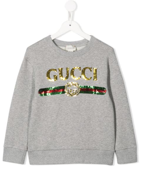 Gucci Kids' Melanged Grey Sweatshirt With Sequined Logo For Girl