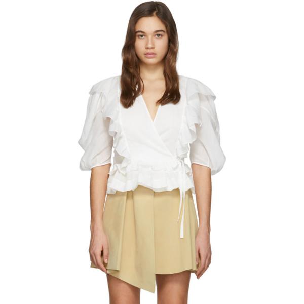 Chloé Gewickelte Chinagras-bluse Mit Rüschen In 白色