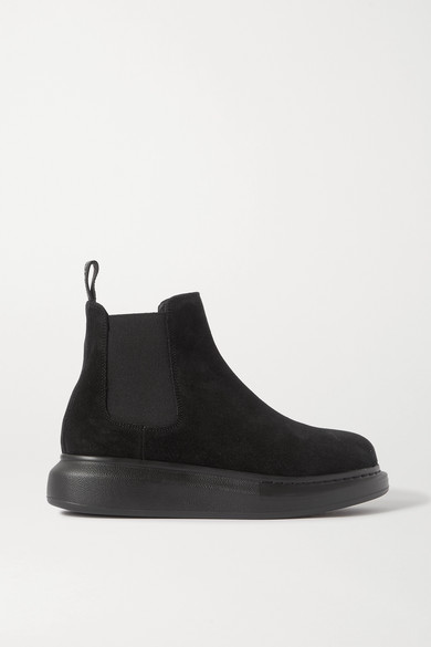 Alexander Mcqueen Suede Exaggerated-sole Chelsea Boots In Black