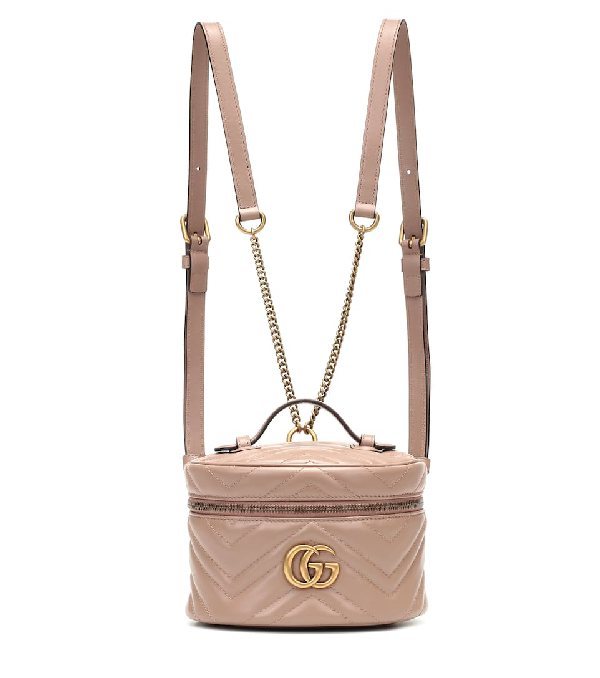 Gucci Gg Marmont Mini Leather Backpack In Beige