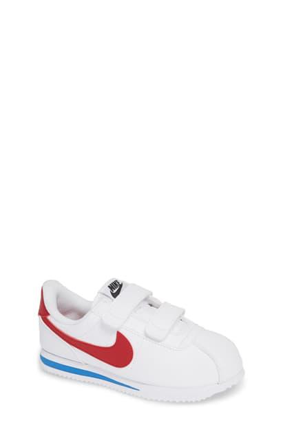 Nike Cortez Basic Sl Little Kids' Shoe (white) In White/ Varsity Red/ Black