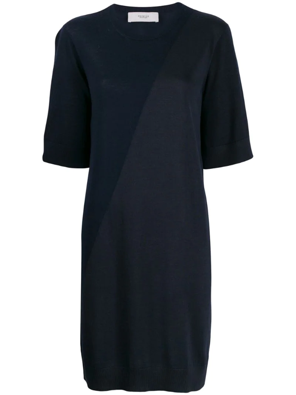 Pringle Of Scotland Colour Block Knitted Dress In Blue