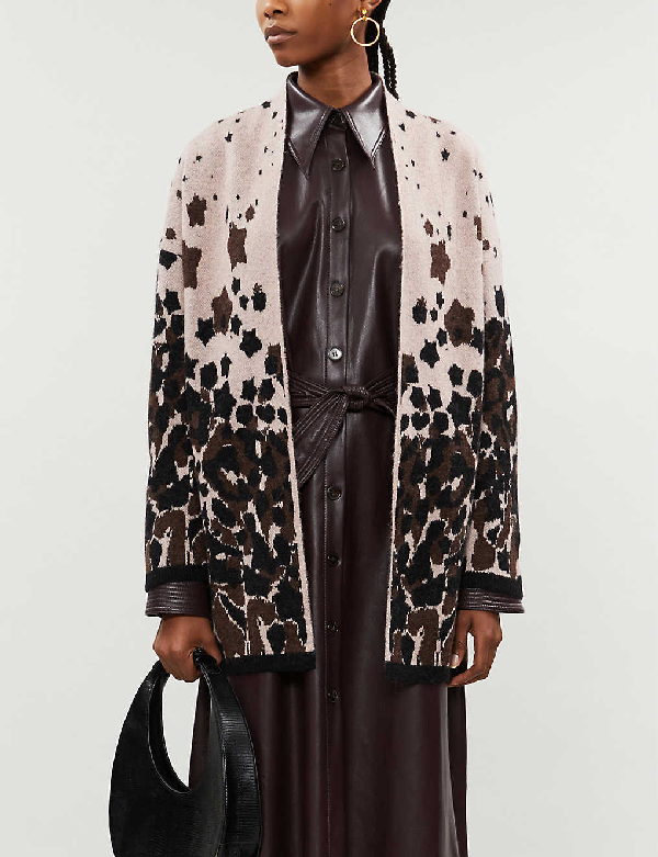 Ted Baker Leopard Jacquard Wool-blend Cardigan In Pl-pink