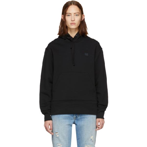 Acne Studios Ferris Face Motif Hooded Sweater In Black