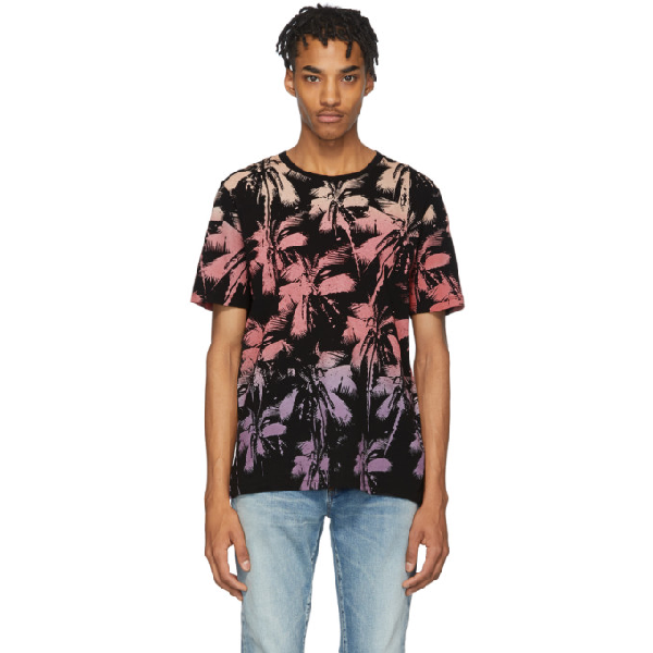 Saint Laurent Allover Palm Print Cotton Jersey T-shirt In 1022 Noirja