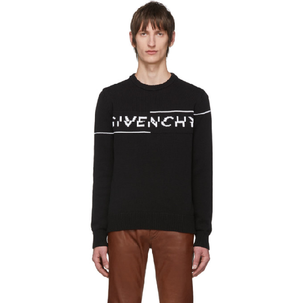 Givenchy Intarsia Logo Knit Sweater Black/white In 004 Blk/wht