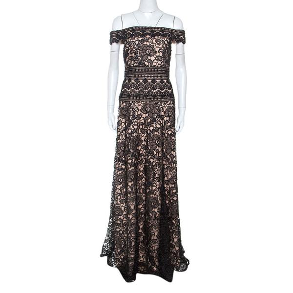 Pre-owned Monique Lhuillier Black Lace Off Shoulder Gown M