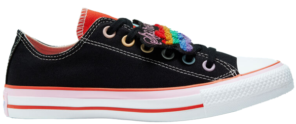 Pre-owned Converse  Chuck Taylor All-star Ox Millie Bobby Brown (w) In Black/mandarin Red-pink Lady