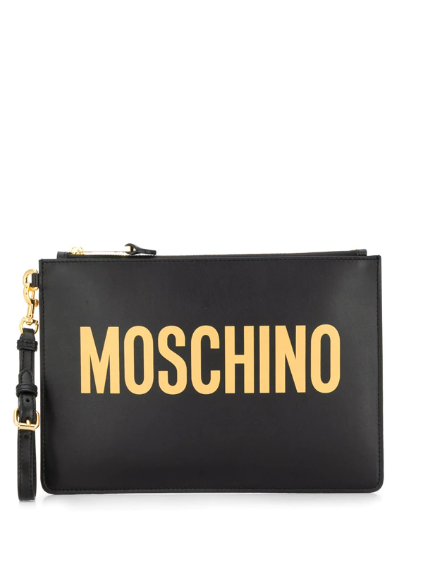 Moschino Gold-tone Detail Leather Clutch In Black