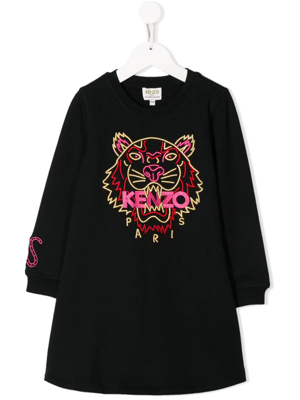 Kenzo Kids' Embroidered Tiger Sweater Dress In Black