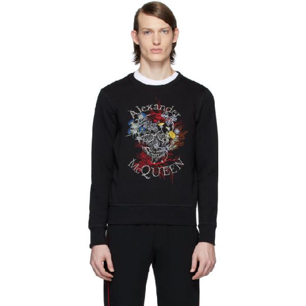 Alexander Mcqueen Floral Logo Embroidered Sweatshirt In 0901 Blkmix