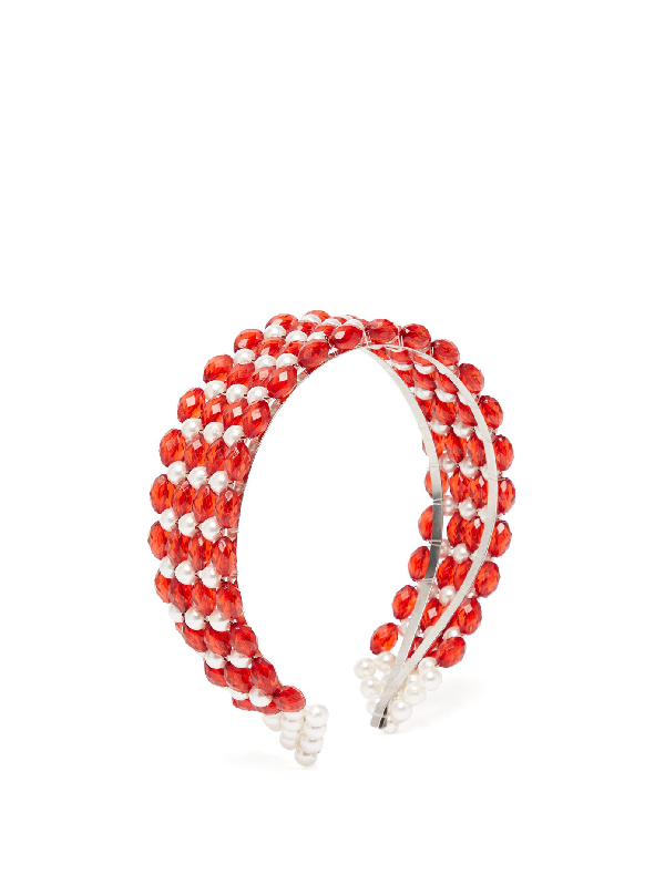 Shrimps Bevelled-bead And Faux Pearl-embellished Headband In Red