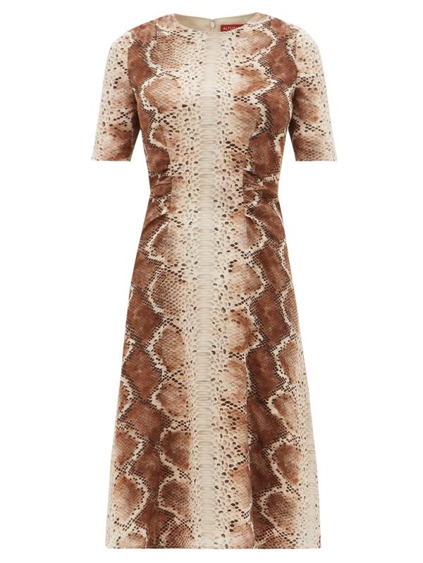 Altuzarra Silvia Snake-print Silk-crepe Midi Dress In 102102 Ivory