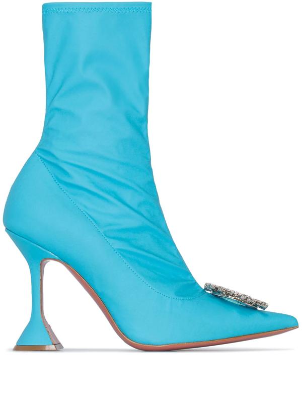 Amina Muaddi Blue Begum 95 Crystal Embellished Sock Boots