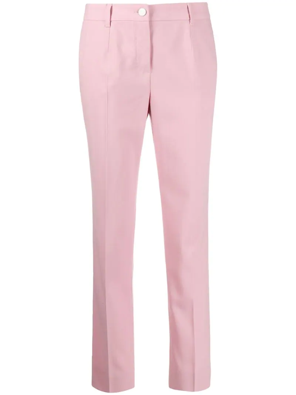 Dolce & Gabbana Wool Trousers With Contrasting Bands In Pink