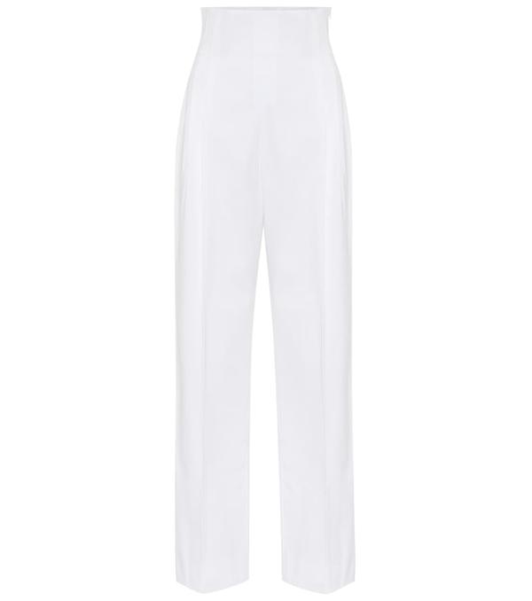 Alaïa High-rise Cotton Gabardine Pants In White