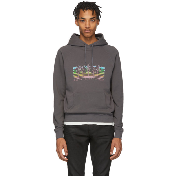 Saint Laurent Palm Rainbow Printed Hoodie Sweatshirt In Grey/multicolor